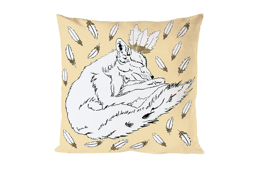 Fox and Feathers Cushion - Yellow