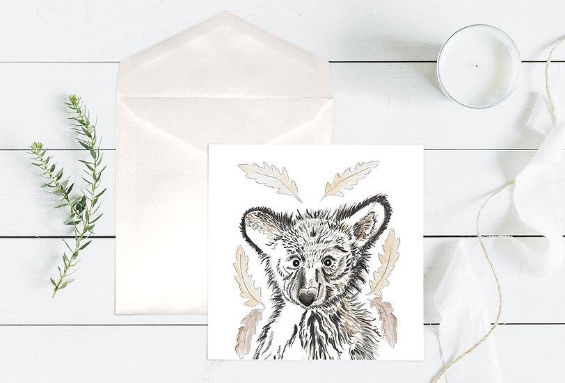 Baby Bear with Oak Leaves Greeting Card