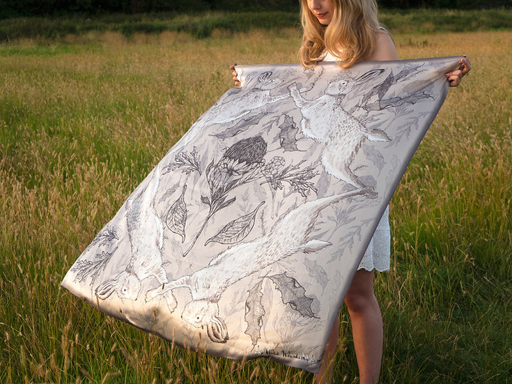 Personalised Hare Silk Scarf
