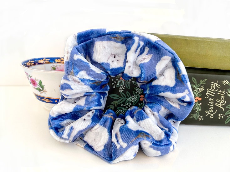 Blue Snow Fox Scrunchie