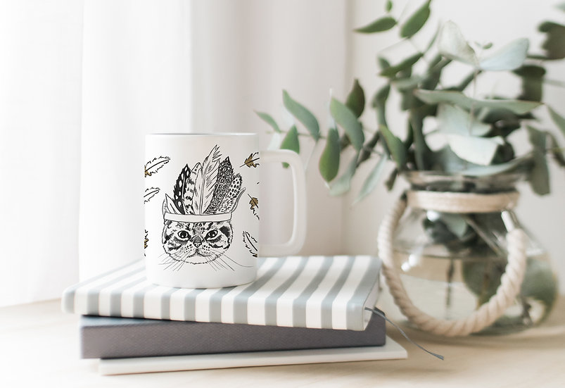 Tribal Tabby Bone China Mug