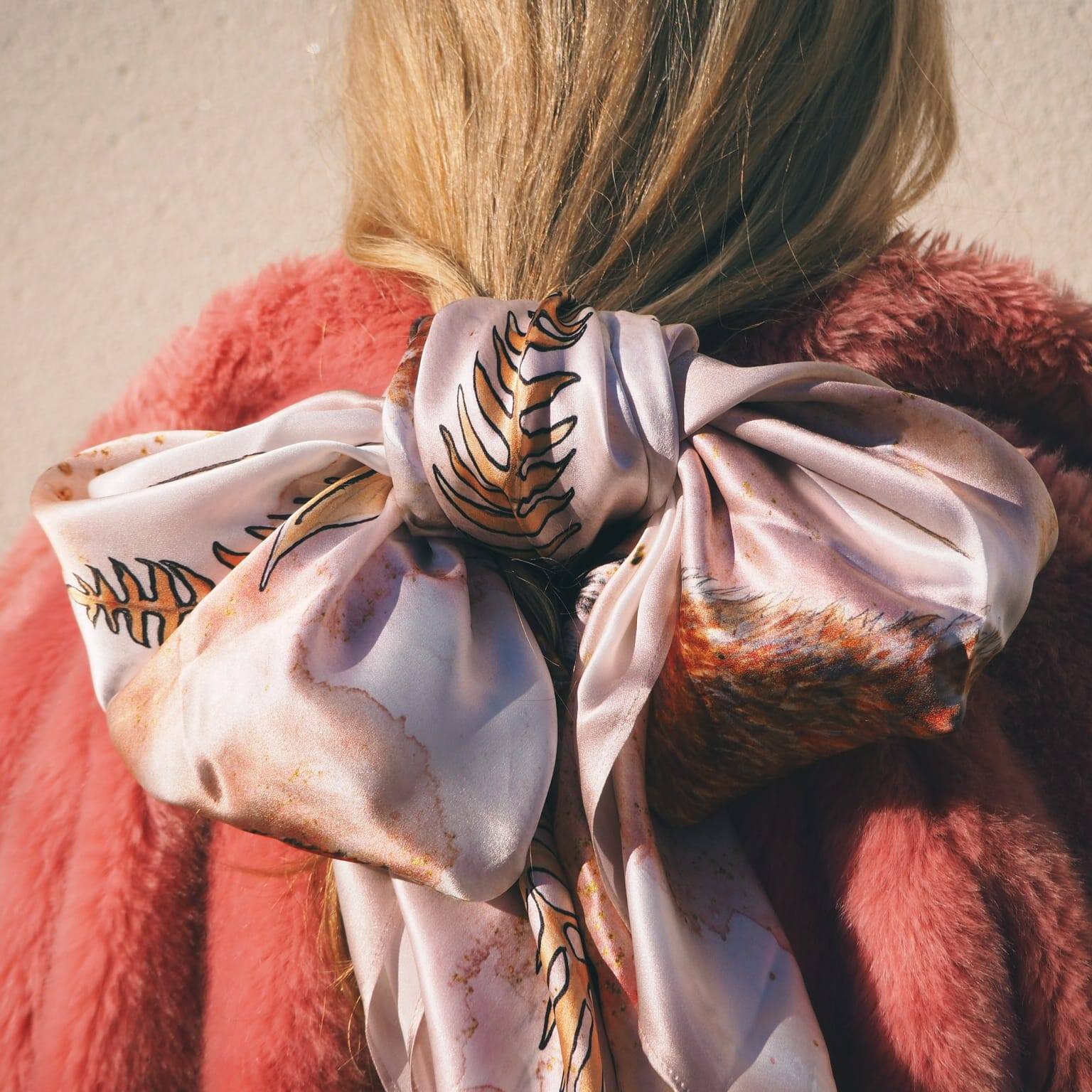fox pink silk scarf