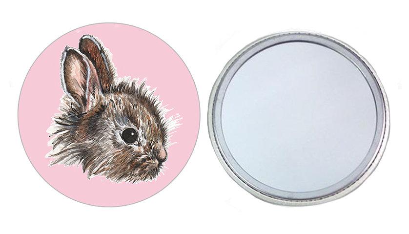 Pink Bunny Pocket Mirror