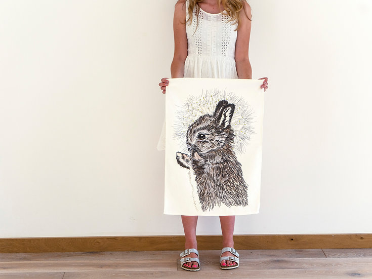 Rabbit and Dandelion Tea Towel