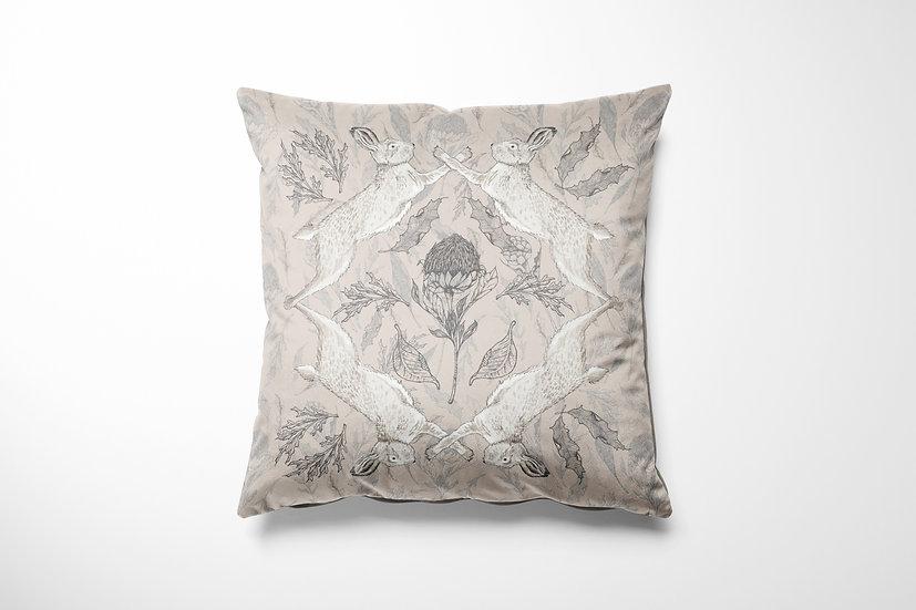 Hare and Thistle Velvet Cushion
