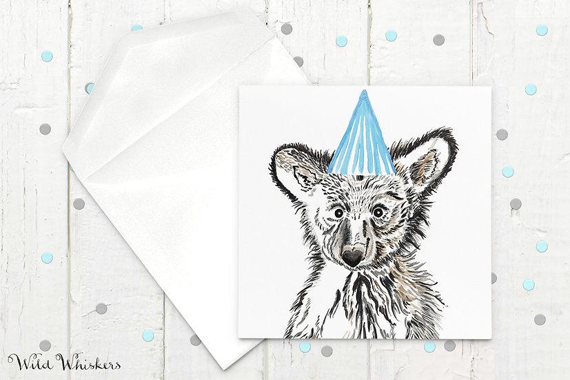 Baby Bear Birthday Hat Card
