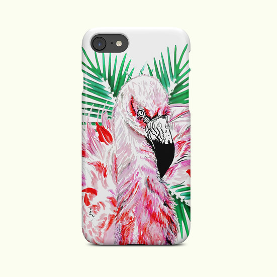 Tropical Flamingo with Palm Leaves phone Case