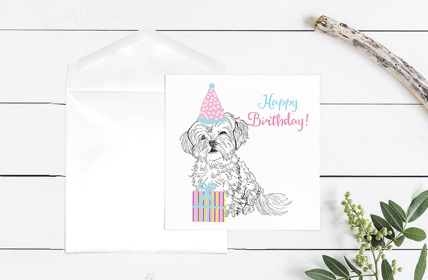 Happy Birthday Dog Greeting Card