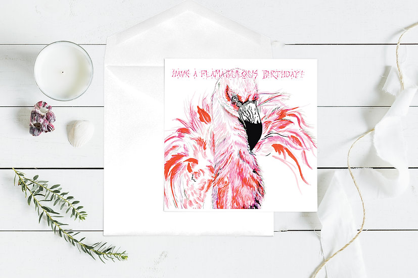 Flamingo Birthday Greeting Card