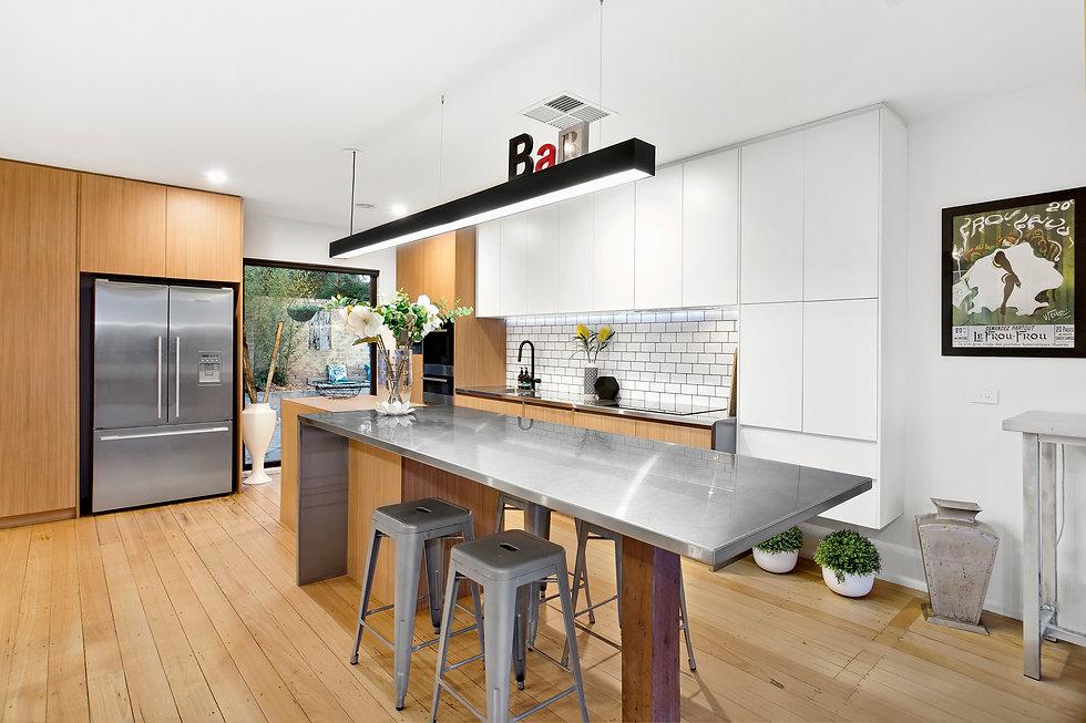 A modern, industrial-inspired kitchen