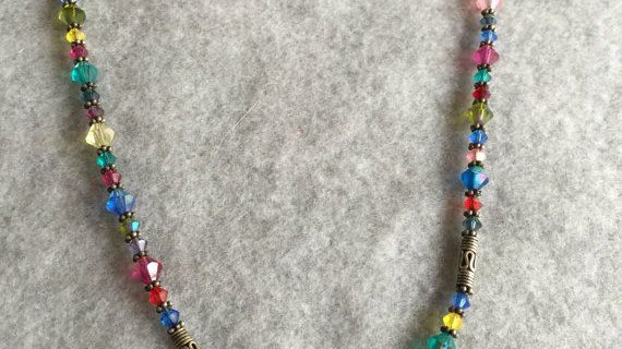 silvertone and multicolored adjustable necklace