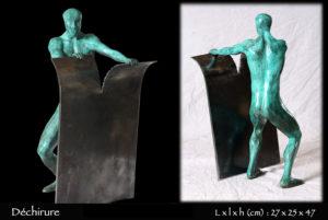 Dechirure-bronze-sculpture-homme-acier-1