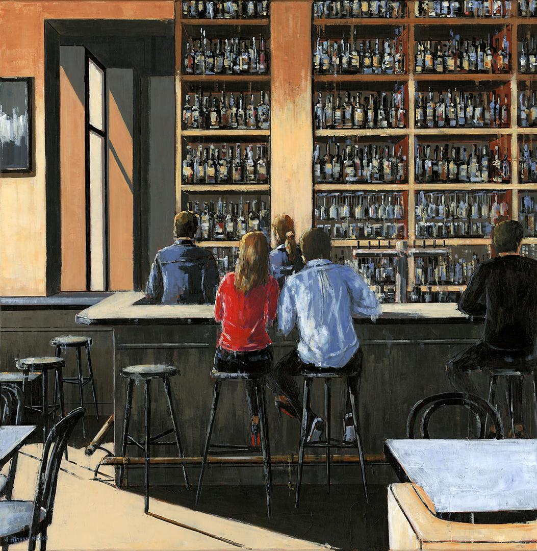 Un couple dans le bar 80x80cm