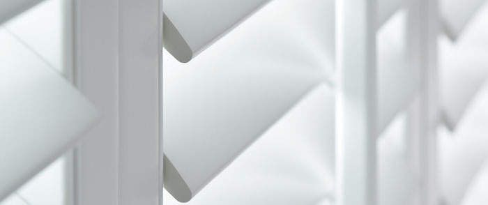 Pure White, 63mm louvres with visible tilt control