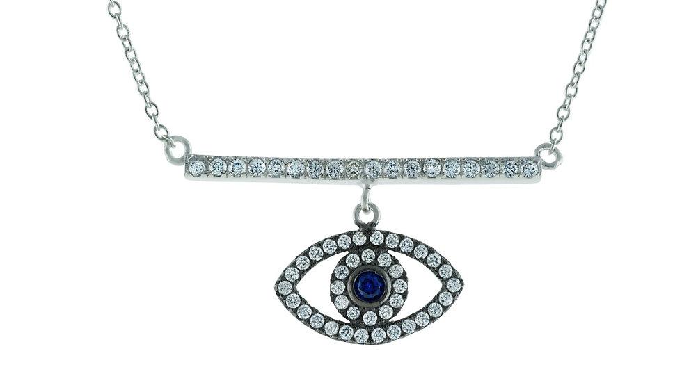 "Spiritual CZ Bar & Eye Rhodium Plated Sterling Silver Necklace, 16"""