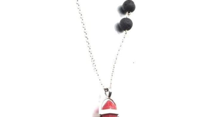 Red Agate Crystal Lava Stone Necklace