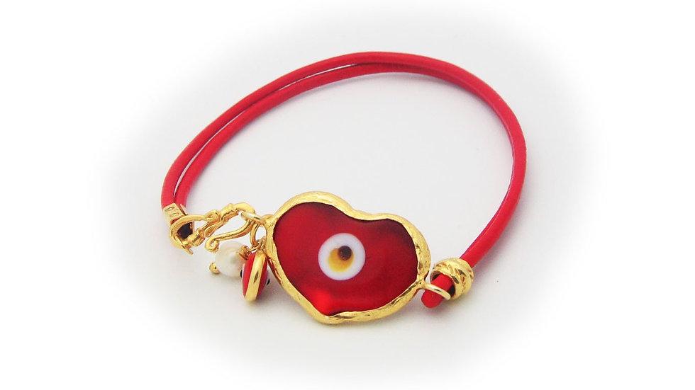 Red Crystal Evil Eye Leather Bracelet