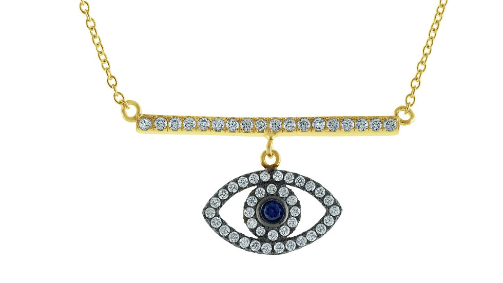 """Spiritual Bar & Eye Gold Plated Sterling SIlver Necklace, 16"""""""