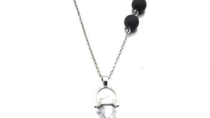 Howlite White Crystal Lava Stone Necklace