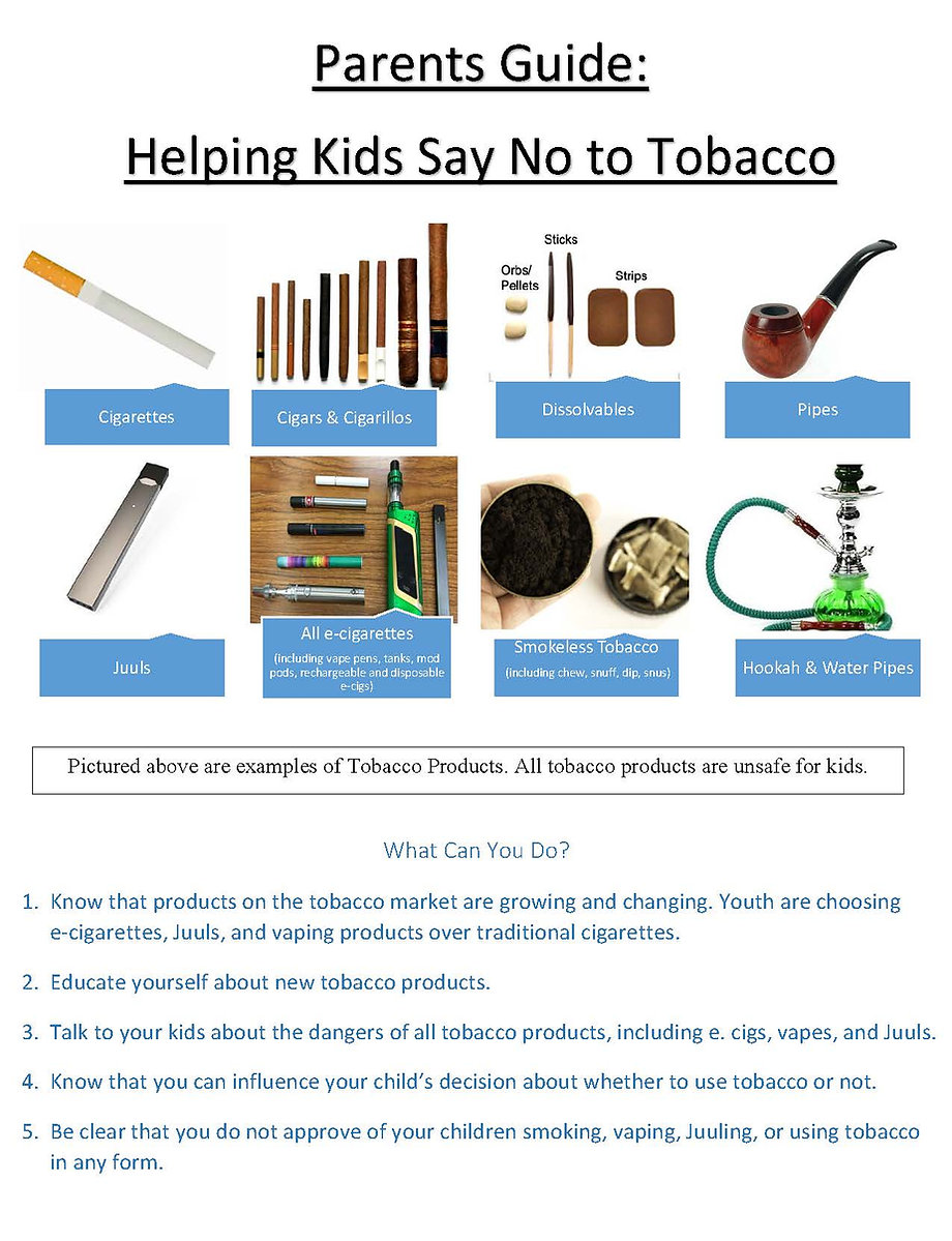 Parents Guide:  Helping Kids Say No to Tobacco Parents Guide:  Helping Kids Say No to Tobacco Parents Guide:  Helping Kids Say No to Tobacco. For more informatin call 4104798080