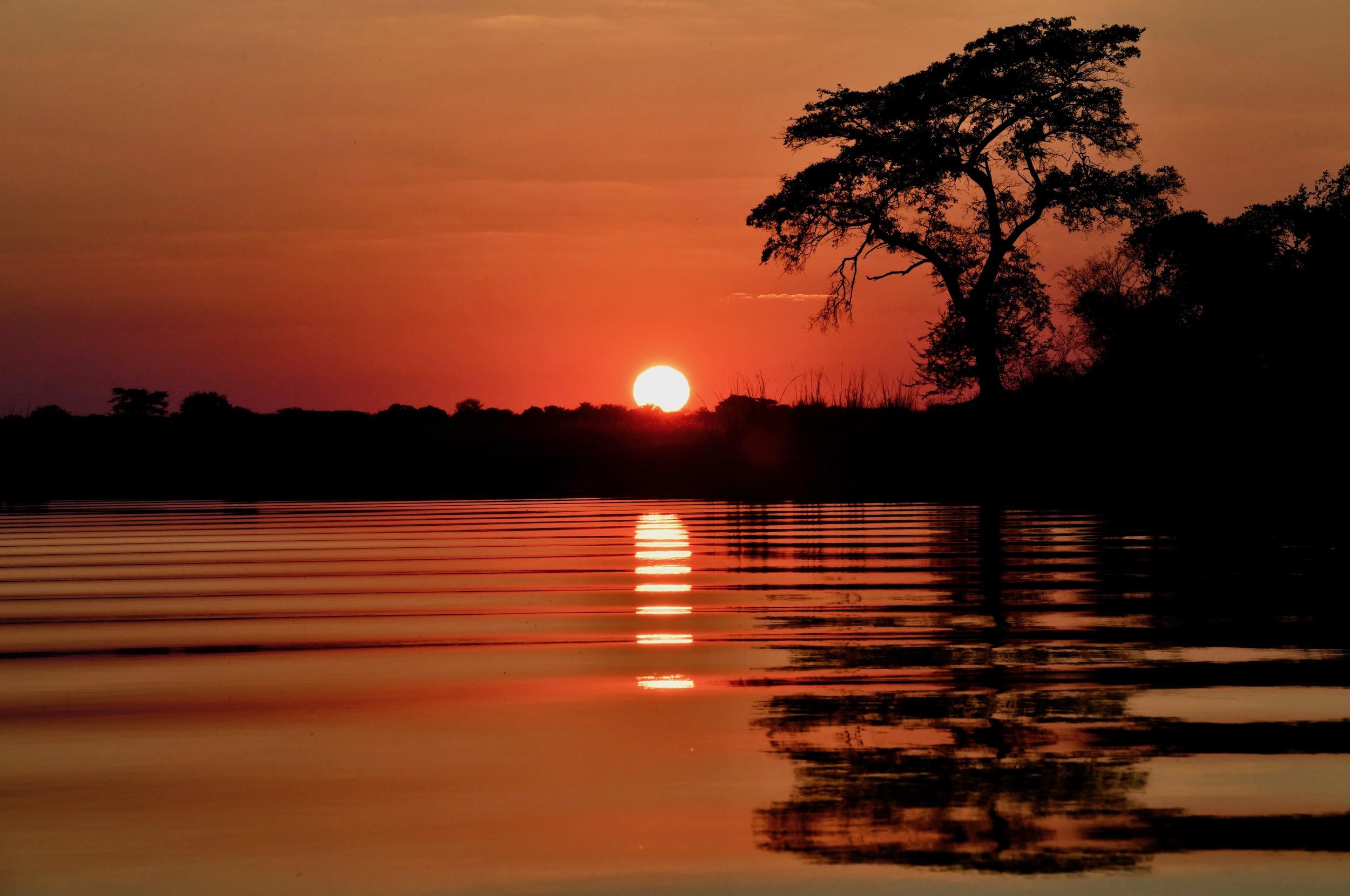 Sonnenuntergang am Okavango