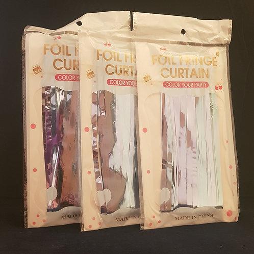 Foil Fringe Curtains Pale Blue
