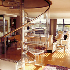 Living Room and Spiral Staircase