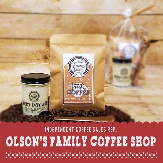 Olson Coffee Shop - Coffee & Candle 3oz Gift Set