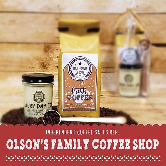 Olson Coffee Shop - Coffee & Candle 12oz Gift Set