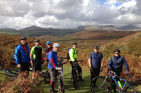 Seven intrepid bikers on the fells