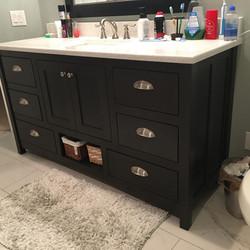 Alder stained bathroom vanity