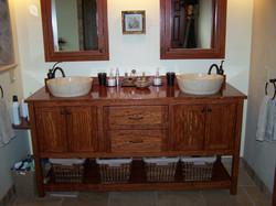 Custom wood bathroom vanity