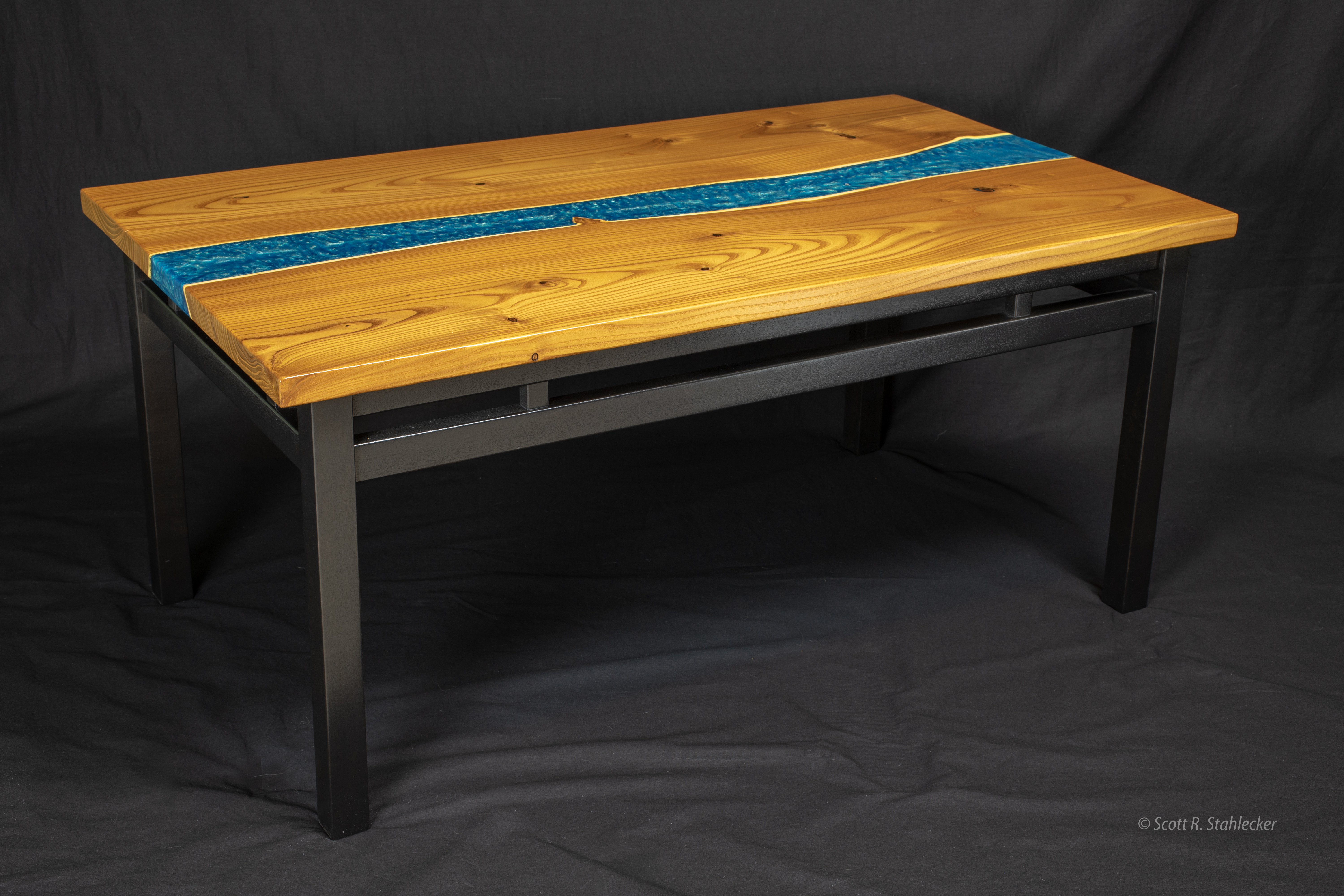 Natural edge coffee table black stand