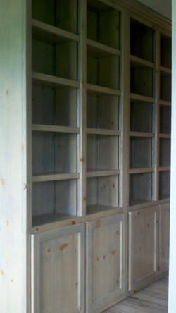 Pine wood stained shelving unit