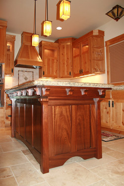 Sapele kitchen island with marble
