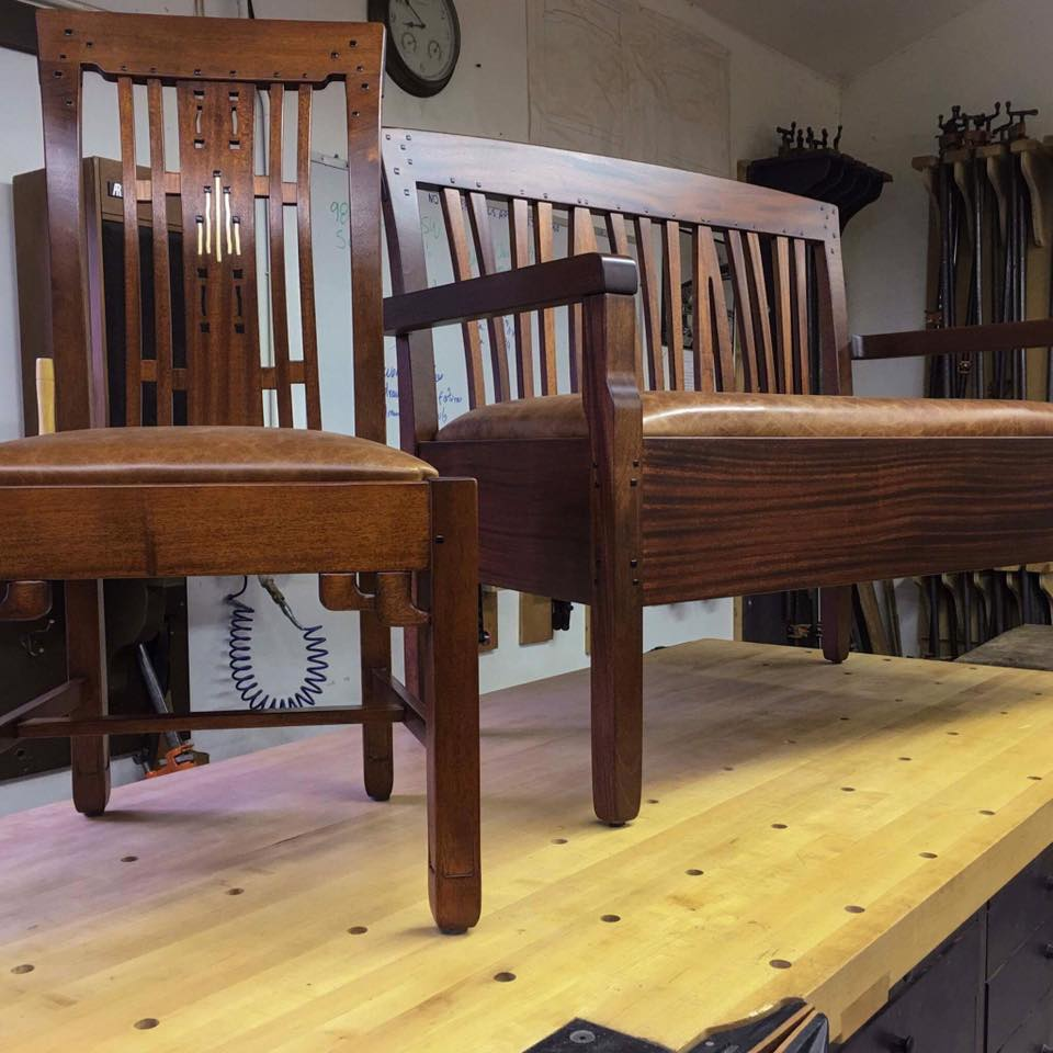 Chair and bench by Stix's Woodworks