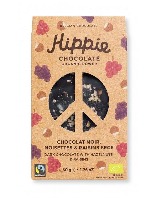 Tablette chocolat bio noir noisettes et raisins secs