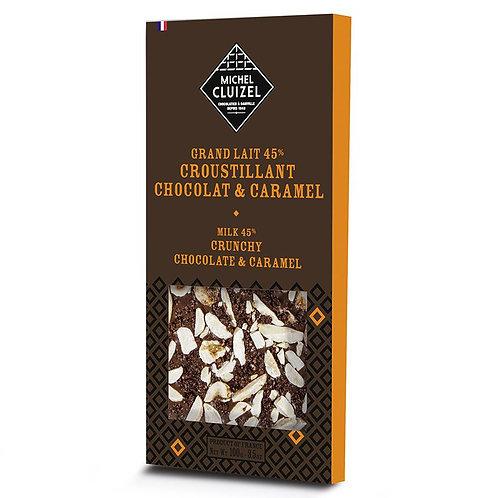 Grand lait 45% et croustillant chocolat et caramel
