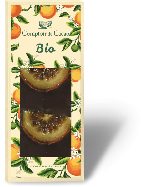 Tablette noire orange confite bio