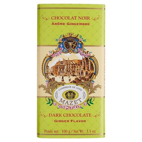 Tablette chocolat noir arôme gingembre