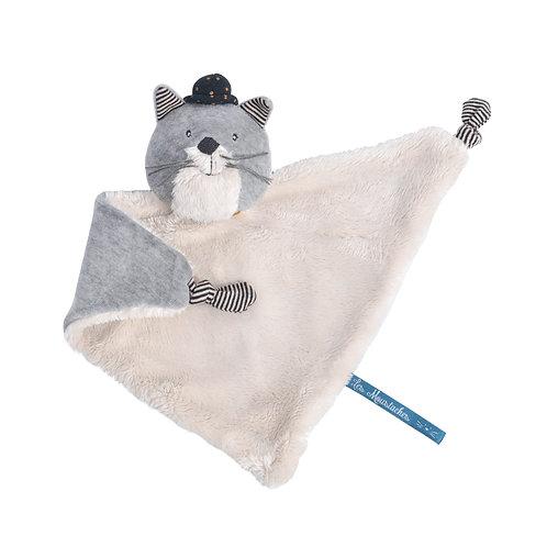Doudou chat gris clair Fernand les moustaches