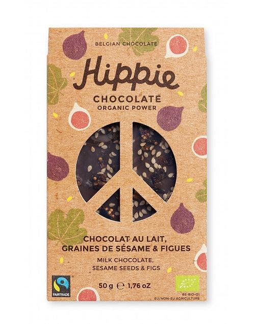 Tablette chocolat lait bio hippie, graines de sésame et figues