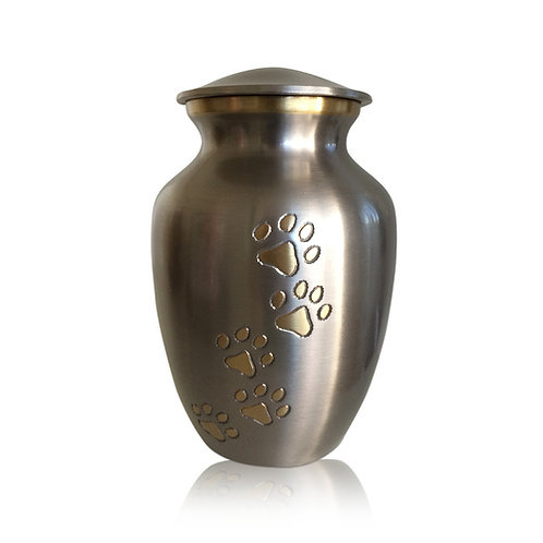 Silver with Gold Paws Urn