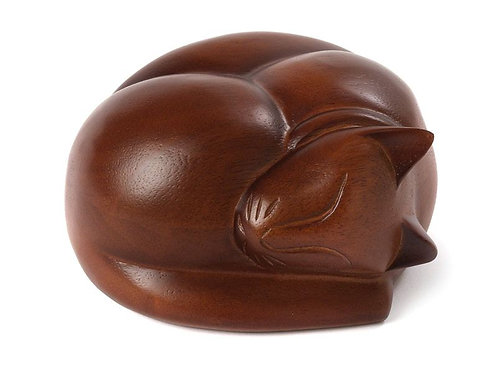 Sleeping Cat Timber Urn
