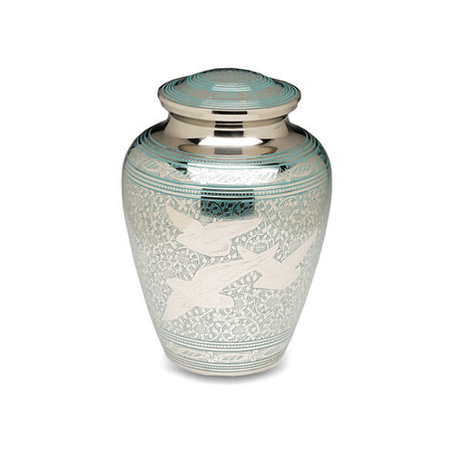 Teal Birds Going Home Urn Adult