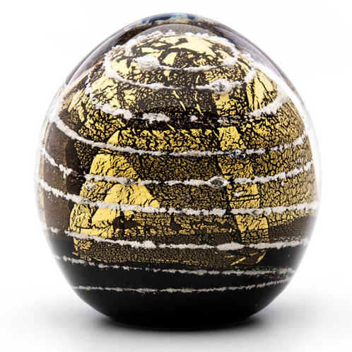 Memorial Glass Globe Gold on Black Med - Made to Order