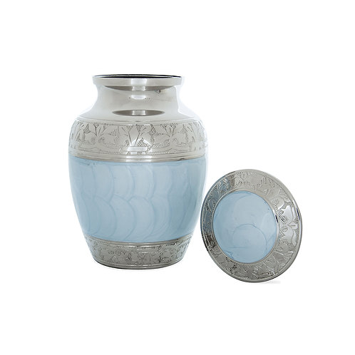 Blue Enamel & Nickel Urn