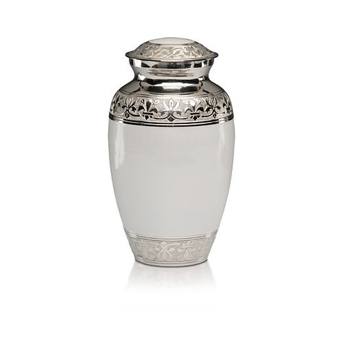 White Enamel & Nickel Urn Adult