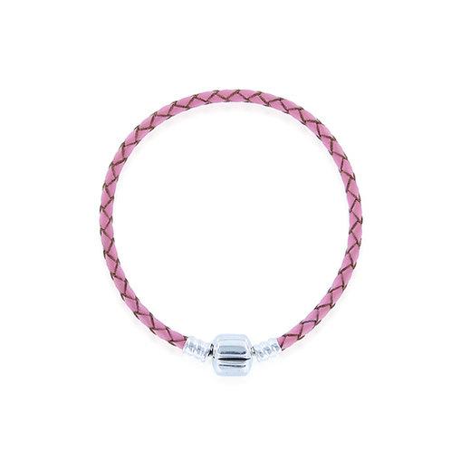 Pink Leather Charm Bracelet