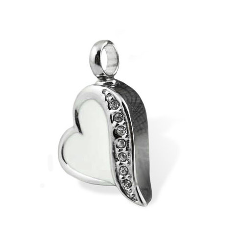 White Love Heart Urn